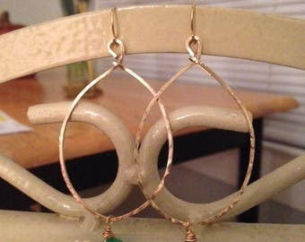 Gold Hoop Earrings with Chrysoprase