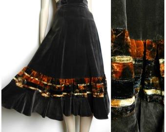 70s COTTON velvet high waist full swoop ruched midi skirt tye dye rust chocolate brown U.K. 6 - 8 SM XS