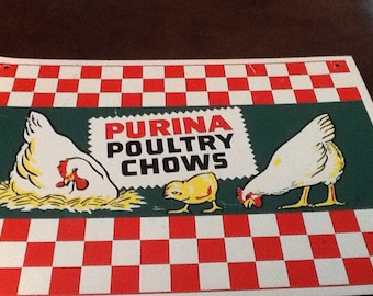 Vintage Purina Poultry Chows Metal Sign
