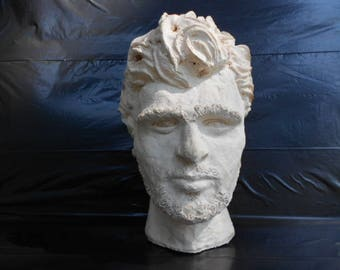 "Vintage Plaster Head Marked ""Robert Wolders '60 Alt Fecit"""