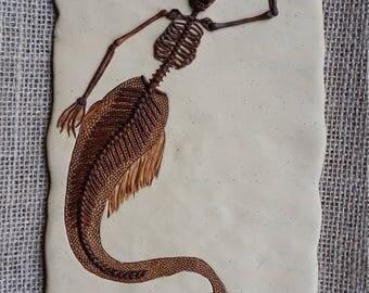 OOAK fossil mermaid. Framed.