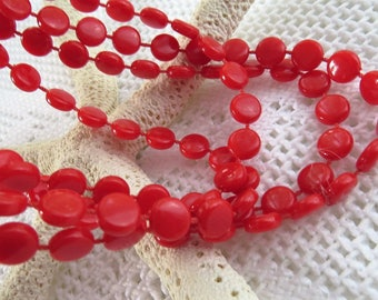 Extra Long Red Bead Necklace - Vintage Retro Plastic Red Beaded Necklace