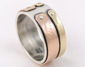 Mixed metal gold ring - mens ring,rose gold wedding band,mens engagement ring,anniversary ring,rustic ring,wedding band,silver gold,14K Gold