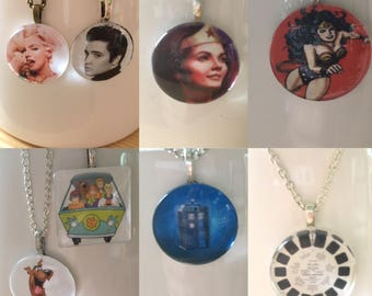 CLEARANCE!! Nostalgia Pendant Necklace - Wonder Woman Necklace - Scooby Doo Necklace - Elvis Jewelry - Marilyn Monroe Necklace - Dr. Who