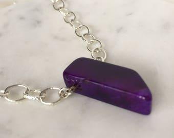 purple necklace, purple gemstone necklace, purple stone necklace, chunky necklace, statement necklace, boho necklace, purple