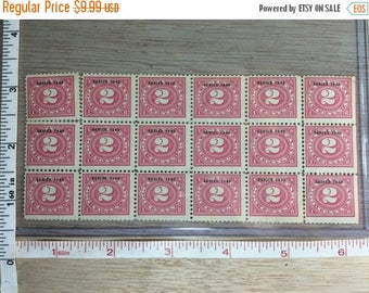 10% OFF 3 day sale Vintage Series 1940 2 Cent Postage Stamps Sheet Of 18 Used