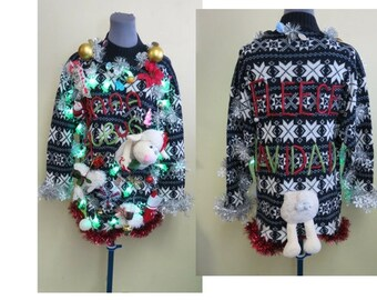 It's A Sheep Filled Tacky Ugly Christmas Sweater size M, Womens Light up Christmas Sweater, Baaa Humbug, Fleece Navidad Sweater, Hysterical