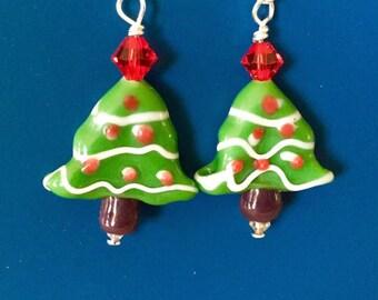 Christmas Tree Red Swarovski Earrings