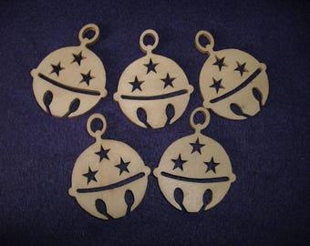 5 bells, 5.5 x 4 cm, wood (24-0003A)