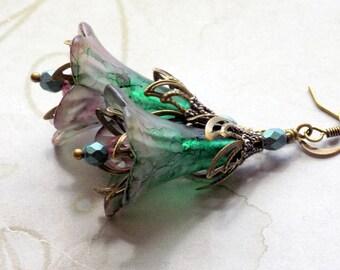"""Lucite Flower Earrings, """"Misty Rose Garden"""", Pink Flower Earrings, Drop Earrings, Dangle Earrings, Vintage Style Earrings, Boho Earrings"""