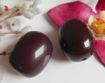 set of 2 olive plastic beads