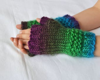 Rainbow Kids Mittens, Cable Knit, Fingerless Gloves, Acrylic Knitwear, Hand Warmers, Wrist Warmers, Texting Gloves, Children Gloves