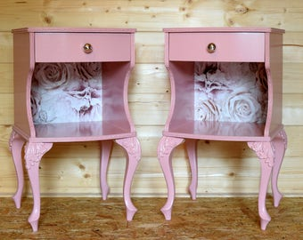 Pair of upcycled vintage hand-painted blush pink bedside cabinets with mercury glass knobs & paper detail