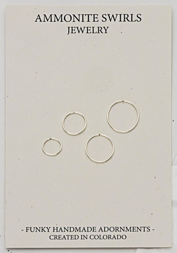 Nose Rings - 20G Nose Ring - 22G Nose Ring- 24G Nose Ring - Tiny 6mm - Small 9mm - Loose 11mm - Large 13mm - Nose Hoop Ring- Handmade- Gift
