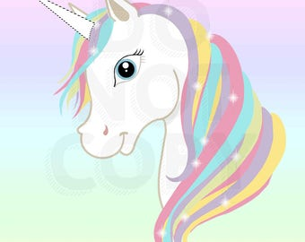 Pin the Horn on the Unicorn Party Theme GAME digital file