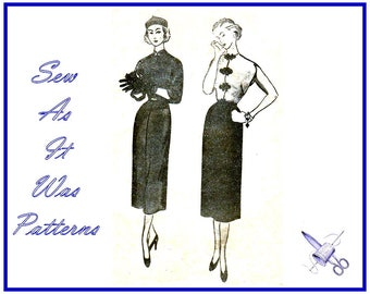 1950s Uncut Oriental Cheongsam Dress Chinese Frog Mandarin Collar Sleeves Sleeveless Vintage Sewing Pattern Simplicity 3356 Size 14 Bust 32