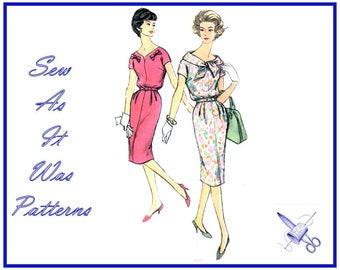"1950s Simplicity 2968 Vintage Sewing Pattern Blousen Bodice Sheath Wiggle Dress Shawl Collar Bow Trim Kimono Sleeves Size 14 Bust 34"" 87cm"