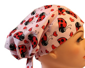 Scrub Hat Cap Chemo Bad Hair Day Hat  European BOHO Pixie Pink and Red Ladybugs  2nd Item Ships FREE