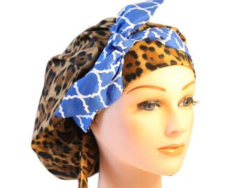 Scrub Cap Surgical Medical Chemo Chef Vet Nurse Hat Banded Bouffant Tie Back Animal Leopard Print Blue Quaterfoil Tie 2nd Item Ships FREE