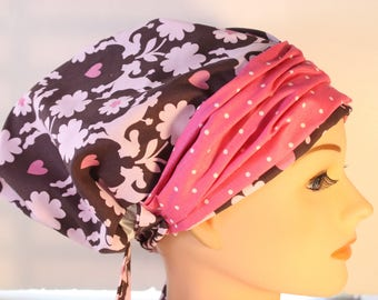 Scrub Hat Cap Chemo Bad Hair Day Hat  European BOHO Banded Pixie Tie Back Poodles Dogs Pink Dot Band  2nd Item Ships FREE