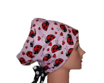 Medical Hat Surgical Scrub Cap Chemo Hat Tie Back / European Pixie Style / Pink Red Ladybugs 2nd Item Ships FREE