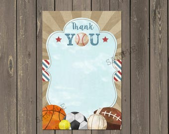 Sports Thank You Card, Sports Balls Baby Shower Thank you Card, All Star Thank you Card, Boys Birthday Thank You, Instant Download