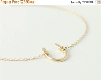 ON SALE 14k gold filled lucky horseshoe charm - 14k gold filled necklace - simple everyday jewelry