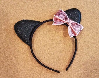 Cat Ear Headband - black with Pink  bow - RTS