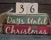 Vintage Christmas Countdown Blocks/Days Until Christmas  - Green & Red