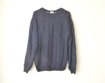 dark blue chunky knit oversized sweater pullover 90s // M-L