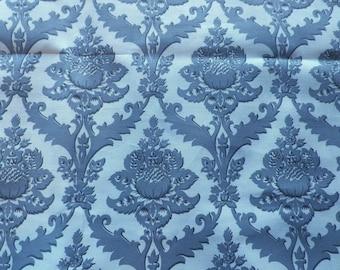 Vintage French Cotton Fabric Grey Jacobean Print 'Sforza' Grand Teint Meuble