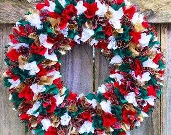 Christmas Rag Wreath, Country Christmas Decor, Rustic Christmas Wreath, Holiday Wreath