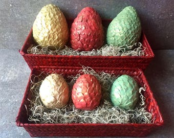 Dragon Eggs - Game of Thrones - Harry Potter- Set of 3 Dragon Eggs w/ Basket or Trunk