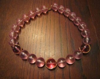Napier Necklace Pink Translucent Resin Beads with 3 Gold Tone Wraps