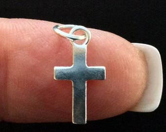 Solid Silver Cross Charm