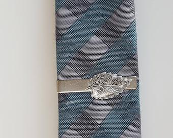 Silver Leaf Tie Clip, Tie Bar, Modern, Rustic, Woodland, Nature, Men, Groom, Best man, Man, Wedding, Father's Day
