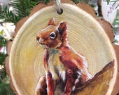 Squirrel Wood Tree Slice Ornament or Wall Art