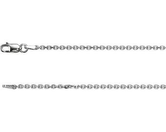 14K White Gold Diamond Cut Cable Chain, 18 inches Long 1.75 mm CH125WG