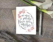 Mother's Day Watercolor Quote 5x7 card, Blank inside with kraft envelope, handlettering religious Abraham Lincoln Godly mother quote