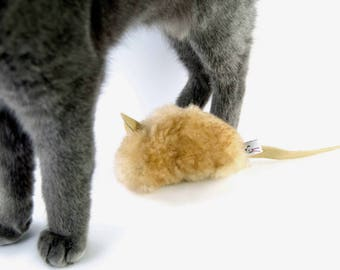 Unique Cat Toy Mouse, Big Cat Toy, Catnip Toy, Toys for Cats, Catnip Mouse, Tan Sheepskin Cat Toy