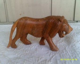 Vintage Wooden Carved Lion Figurine, Safari Figurine, Jungle Decor, Jungle Figurine, Lion Knick Knack