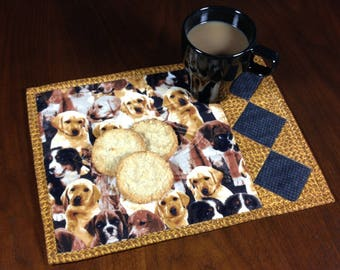 Dog Theme Mug Rug, Quilted Snack Mat, Mini Placemat, Luncheon Mat, Handmade Beverage Mat, Mini Quilt, Gift for Dog Lover
