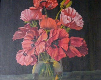 Large Antique French Poppies Painting,signed H.Clavier.,1941.