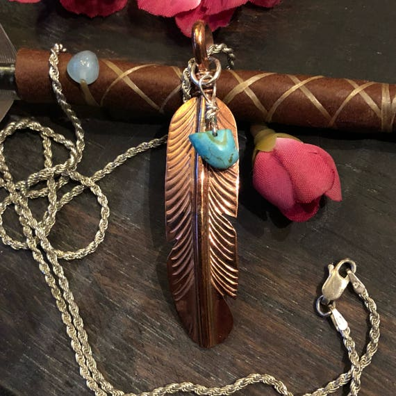 Sterling copperand turquoise feather necklace