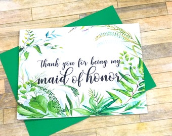 Thank you for being my maid of honor card - wedding thank you cards - best friend - bridesmaid - flower girl - greenery - SECRET GARDEN