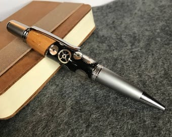 Steampunk Pen, Cool Pens, Gift For Him, Boyfriend Gift, Gifts For Writers, Unique Gifts, Writing Pens, Handmade Pens, Pens For Men, OOAK