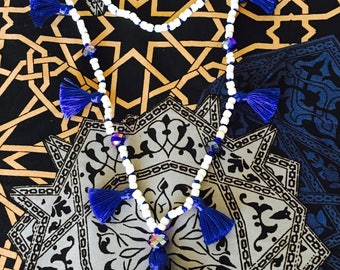 Electric Blue Multi Tassel Necklace > White Beads > Stunning New Design In Cinta Kamu Store > Trends > Boho Style > Festival >Accessory