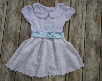 Girl Monogrammed Dress-Personalized Girl Dress-Girl Portrait Dress-White Dress-Girl White Eyelet Dress-Girl Spring Dress-Girl Easter Dress