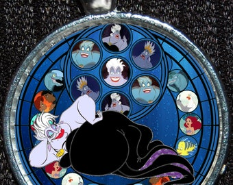 Disney Little Mermaid  Stained Glass Silver Pendant Villain Ursula Necklace Jewelry Disneyland Walt World