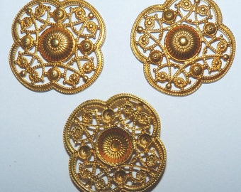 Connectors gold filigree openwork carved decorative engraved shabby chic print 9
